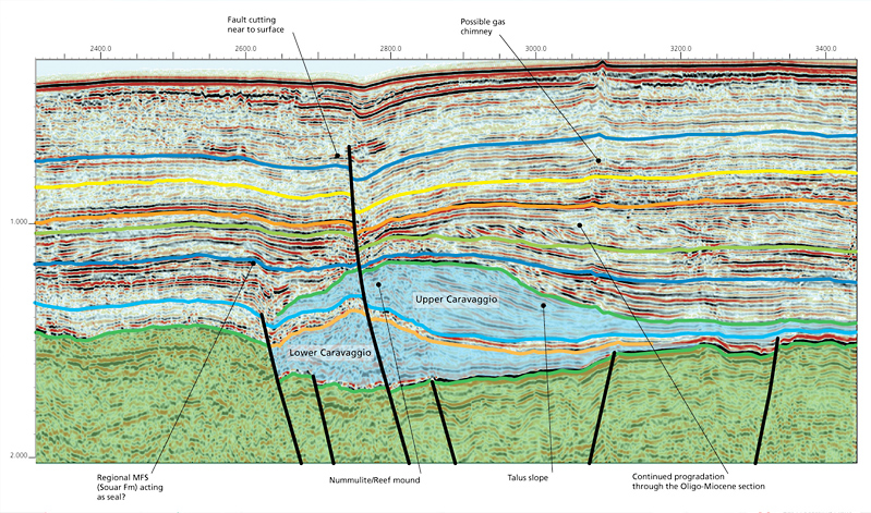 Interpreted seismic section